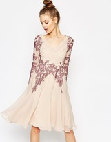 Asos Lace Placed Caftan Skater Midi Dress