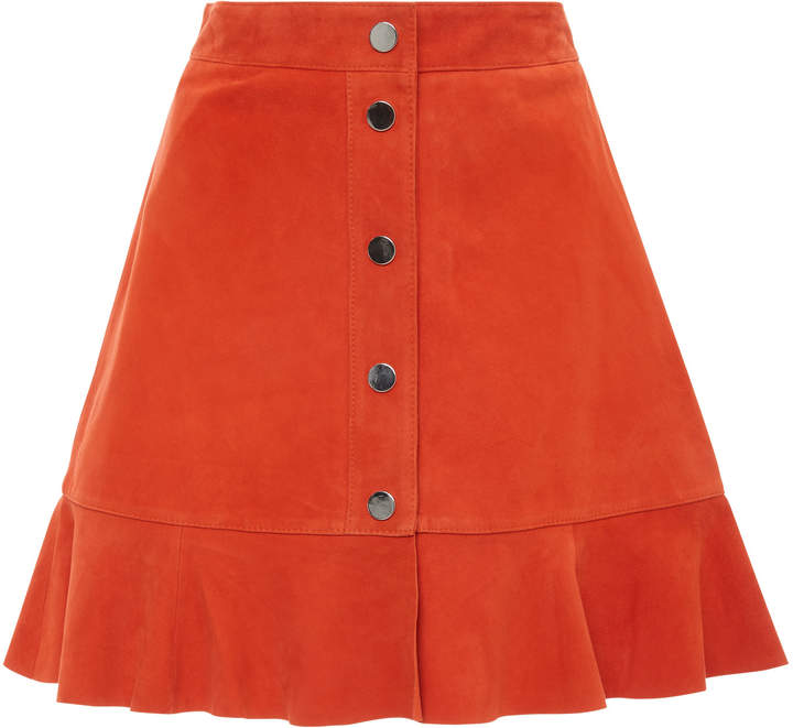 Ganni Salvia Button Front Suede Mini Skirt