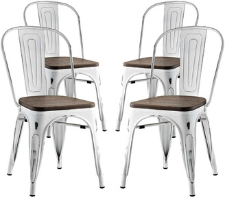 Modway Promenade Dining Side Chairs Steel Set