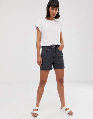 Weekday wide longer length denim shorts in night black