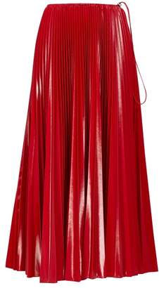 Fendi High-rise Pleated Satin Midi Skirt - Womens - Red