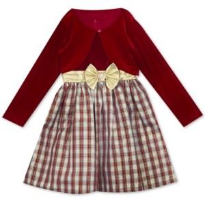 Rare Editions Toddler Girls 2-Pc. Velvet Bolero & Plaid Bow Dress Set