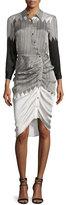 Veronica Beard Clara Ruched Silk Shirtdress, Black/White