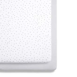 Snuz Bedside Crib Fitted Sheets, Grey Spot, Grey/White, 580 g