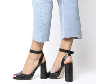 Office Heartly Ankle Strap Block Heels Black Leather