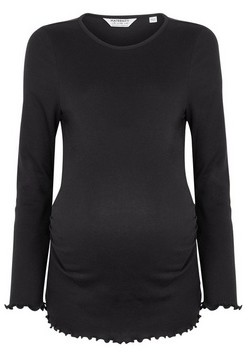 Dorothy Perkins Womens Dp Maternity Black Ruffle Hem Cotton Top, Black