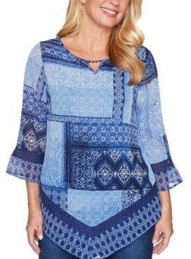 Alfred Dunner Autumn Harvest Lace-Trimmed Handkerchief Blouse