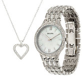 Bulova Ladies Stainless Steel Crystal Watch and Necklace Set
