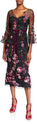 Marchesa V-Neck Flutter-Sleeve Embroidered Tulle Dress w/ 3D Flowers