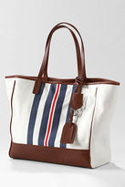 Lands' End Women's Kirsten Canvas and Leather Stripe Large Tote Bag