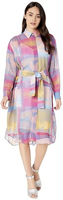 Paul Smith PS Pastel Watercolor Shirtdress (Multi) Women's Clothing