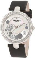Akribos XXIV Women's AKR434BK Diamond Silver Sunray Diamond Dial Quartz Strap Watch