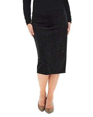 Capsule Glitter Velour Midi Pencil Skirt