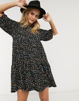 Bershka smock dress with volume sleeve in dark floral print