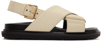 Marni Beige and Black Fussbett Sandals