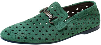 Dolce & Gabbana Green Perforated Nubuck Slip On Loafers Size 42