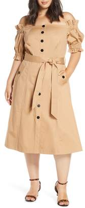 ELOQUII Off the Shoulder Trench Dress