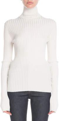 Victoria Beckham Turtleneck Long-Sleeve Ribbed-Knit Sweater