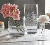 Pottery Barn Monique Lhuillier Floral Etched Glass Vases