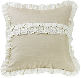 HiEnd Accents Charlotte Burlap & Ruffled Lace Square Pillow