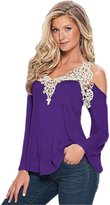 GEOOT Ladies Womens Sexy V-Neck Lace Off Cut Out Shoulder Long Sleeve Tops Shirt(XL )