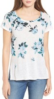 Lucky Brand Women's All Flower Print Linen Blend Tee