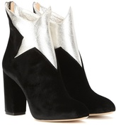 Charlotte Olympia Galactica velvet and leather ankle boots
