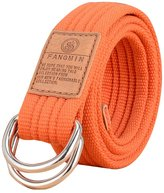 Surker Mens Creative Double D Ring Buckle Casual Canvas Belt
