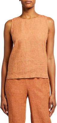 Eileen Fisher Petite Organic Linen Round-Neck Shell Top