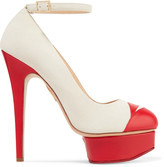 Charlotte Olympia Kiss Me Dolores leather-trimmed suede platform pumps