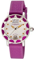 Stuhrling Original Women's 225R.1116Q2 Nautical Regatta Marina Swarovski Crystal-Accented Stainless Steel Watch with Purple Rubber Strap