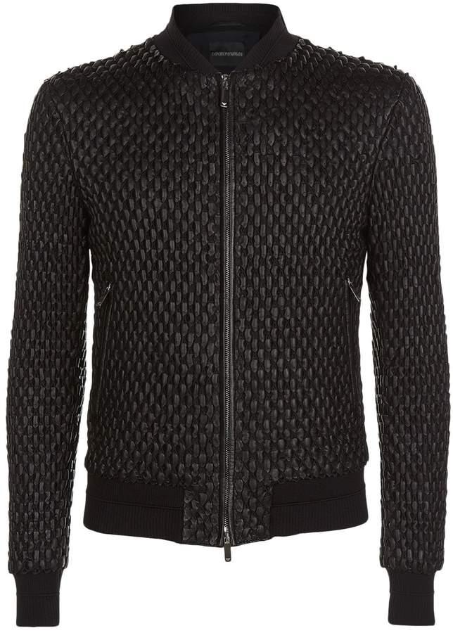 Giorgio Armani Chunky Leather Bomber Jacket