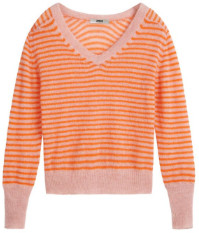 Zenggi Papaya Stripes Summer Alpaca V Neck Knitwear - large