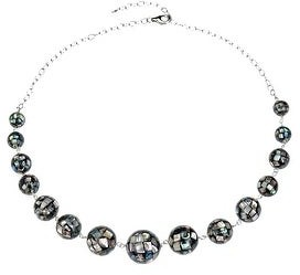 "V3 Jewelry Sterling Silver with Abalone Shell Graduated Statement Necklace-18""Chain with 2""Extension"