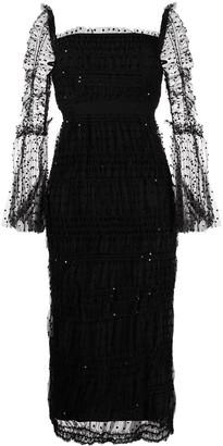 Self-Portrait Polka Dot-Print Fitted Midi Dress