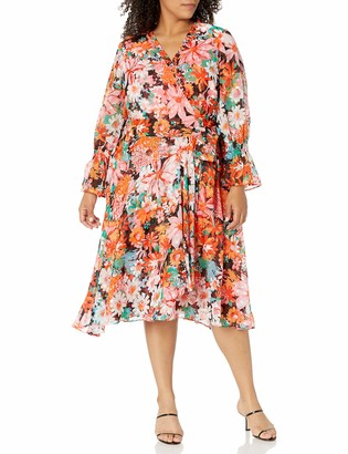 Tahari ASL Women's Plus Size Long Sleeve Surplus Wrap Dress with Smocking Detal