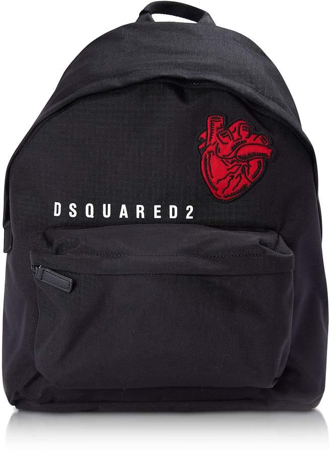 DSQUARED2 Black Nylon Medium Backpack w/Heart Beat Patch