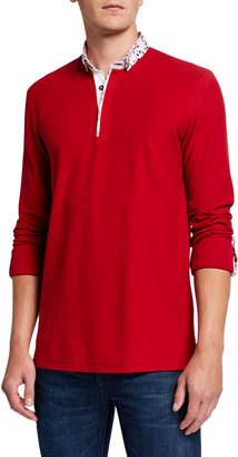 Maceoo Men's Newton Flower Long-Sleeve Polo Shirt