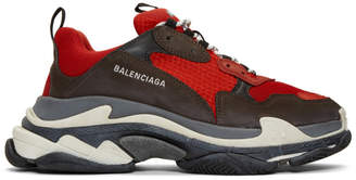Balenciaga Red and Black Triple S Sneakers