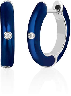 Ef Collection 14ct White Gold And Diamond Navy Enamel Huggie Earrings