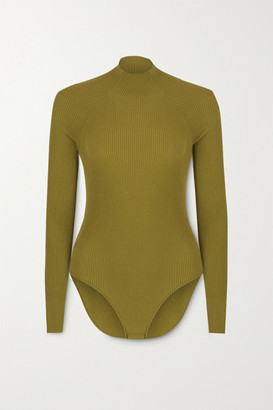 ZEYNEP ARCAY Cutout Ribbed-knit Bodysuit - Army green