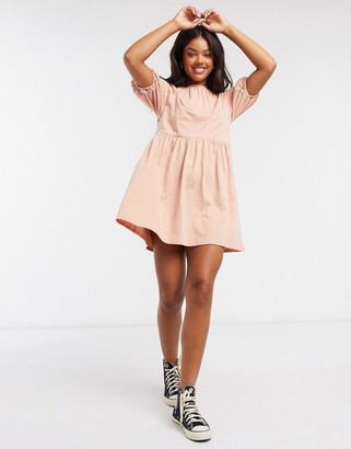 ASOS DESIGN mini smock dress with gathered neck in toast