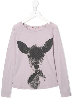 Bonpoint deer-print long-sleeved T-shirt