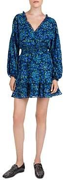 The Kooples Ruffled Floral Print Silk Mini Dress