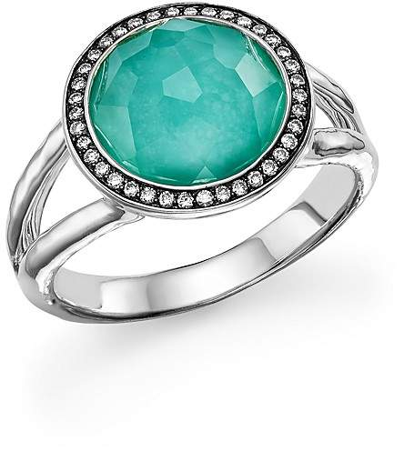Ippolita Sterling Silver Stella Mini Lollipop Ring in Turquoise Doublet with Diamonds
