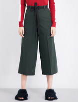 Mo&Co. Wide-leg cropped cotton-twill trousers