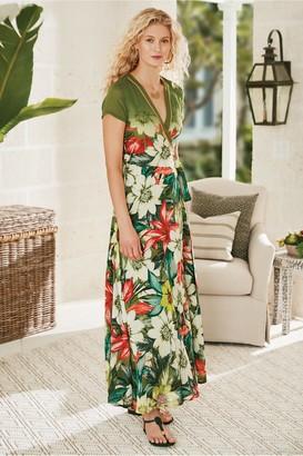 Soft Surroundings Palm Coast Wrap Maxi Dress