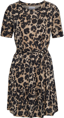 Current/Elliott The Short Sleeve Crystal Leopard-print Linen-jersey Mini Dress