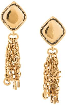 Chanel Pre Owned Logo Chain Tassel Earrings