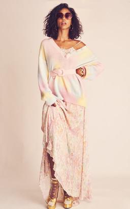 LoveShackFancy Elma Lace-Trimmed Floral Georgette Maxi Slip Dress